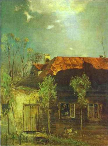 Reproduction of Savrasov's art, A Provincial Cottage Spring,1878
