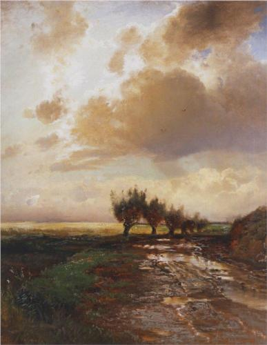 Reproduction of Savrasov's Painting Artwork, Country Road, 1873