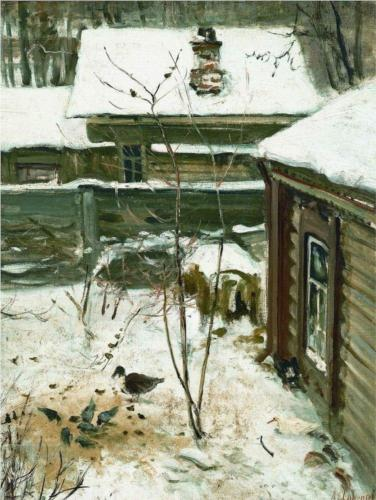 Reproduction of Alexey Savrasov's Art, Courtyard Winter, 1870