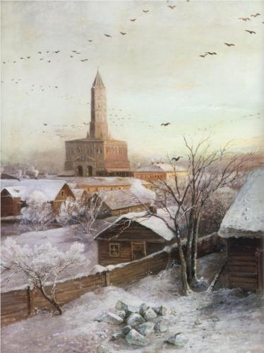 Reproduction of Alexey Savrasov's Art, Early Spring Flood, 1868