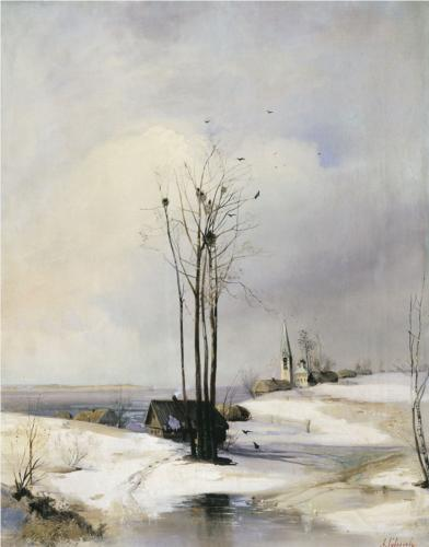 Reproduction of Alexey Savrasov's art, Early Spring Thaw, 1885