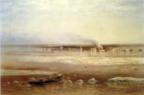 Reproduction of Savrasov's Flooding Of The Volga River, 1871