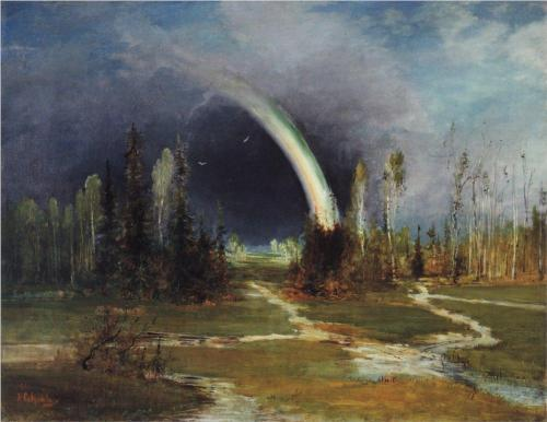 Reproduction of Savrasov's Painting, Landscape With A Rainbow