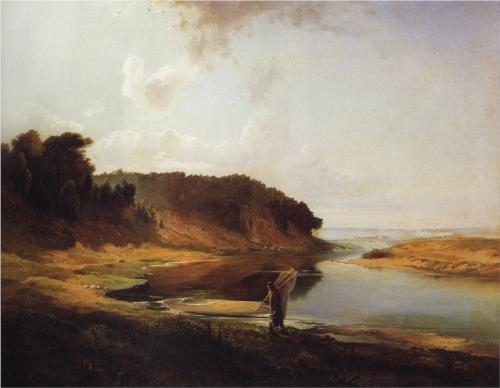 Reproduction of Savrasov's Landscape With A River And An Angler