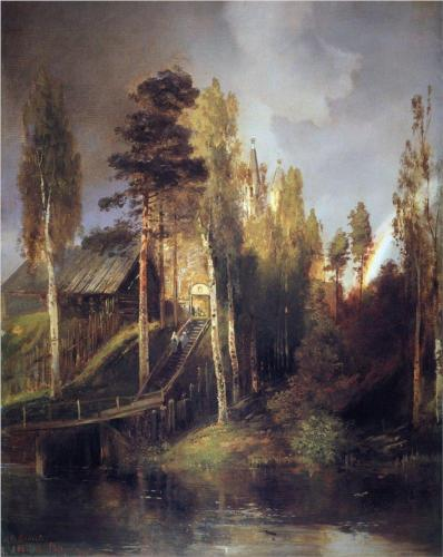 Reproduction of Alexey Savrasov's art, Monastery Gates, 1875