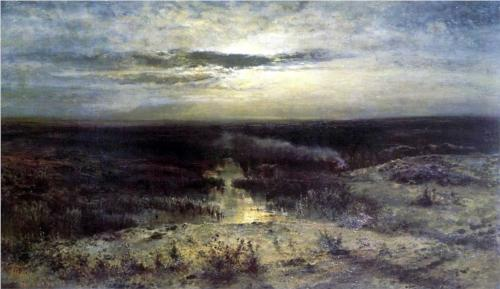 Reproduction of Alexey Savrasov's Painting, Moonlit Night Marsh