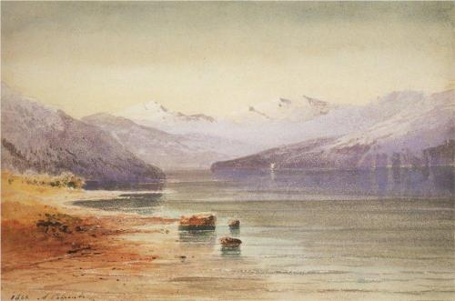 Reproduction of Savrasov's Art, Mountain Lake Switzerland, 1864