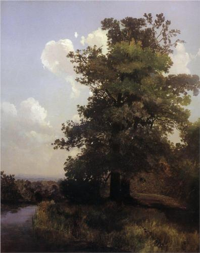 Reproduction of Alexey Savrasov's Painting Artwork, Oaks, 1855