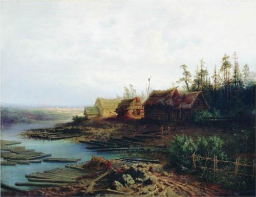 Reproduction of Alexey Savrasov's Painting Artwork, Rafts, 1868