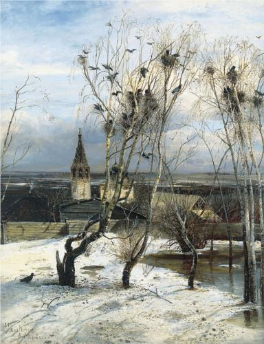 Reproduction of Savrasov's Painting, Rooks Have Returned, 1871