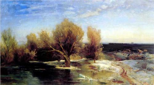 Reproduction of Alexey Savrasov's Painting Artwork, Spring,1883