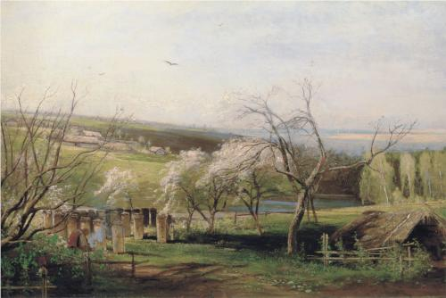 Reproduction of Savrasov's Painting, Spring Village View, 1867