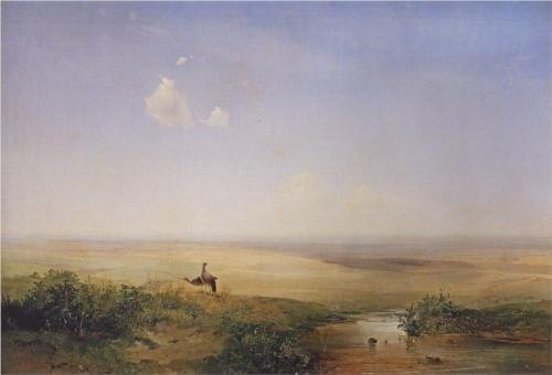 Reproduction of Alexey Savrasov's Art, Steppe Day,1852