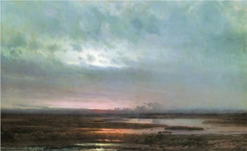 Reproduction of Alexey Savrasov's Sundown Over A Marsh, 1871