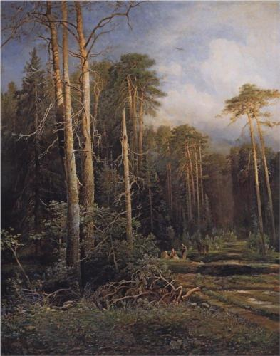 Reproduction of Alexey Savrasov's art, The Road In The Woods