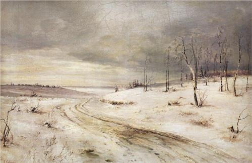 Reproduction of Alexey Savrasov's Painting, Winter Road, 1870