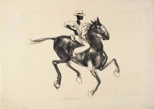 Reproduction of Anne Goldthwaite's art -Horse and Rider