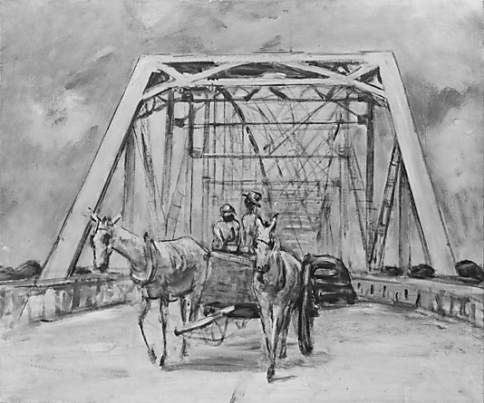 Reproduction of Anne Goldthwaite's White Mules on a Bridge