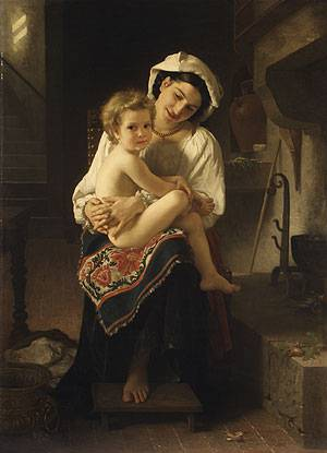 William Bouguereau art Young Mother Gazing at Her Child 1871