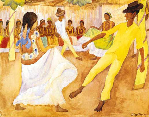 Reproductions of Diego Rivera's art Baile En Tehuantepec