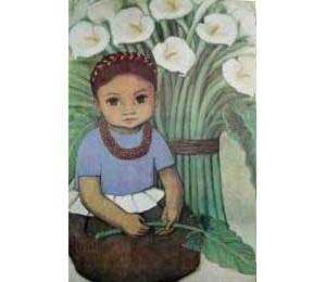 Reproductions of Diego Rivera's art child and calla lillies