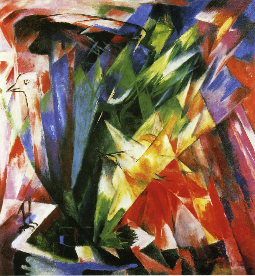 Reproductions of Franz Marc's art Birds 1914