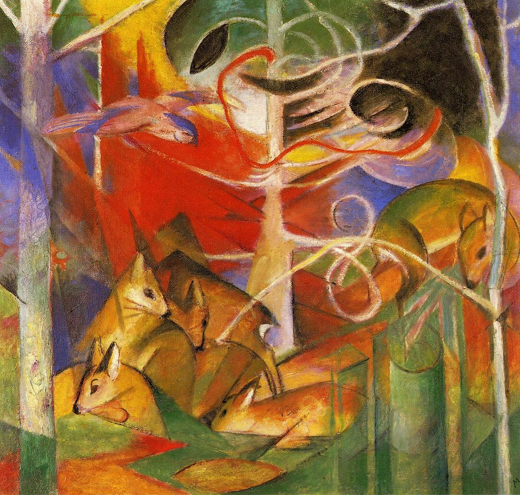 Reproductions of Franz Marci's art Deer in the Forest 1913