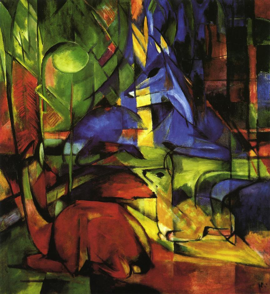 Reproductions of Franz Marc's art Deer in the Forest II 1914