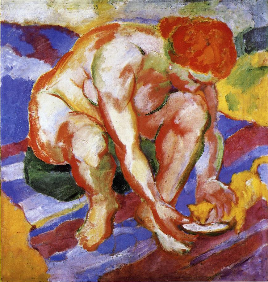 Reproductions of Franz Marc's art Nude with Cat 1910