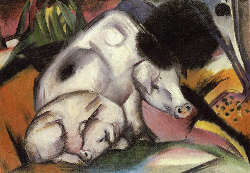 Reproductions of Franz Marci's art Pigs 1912