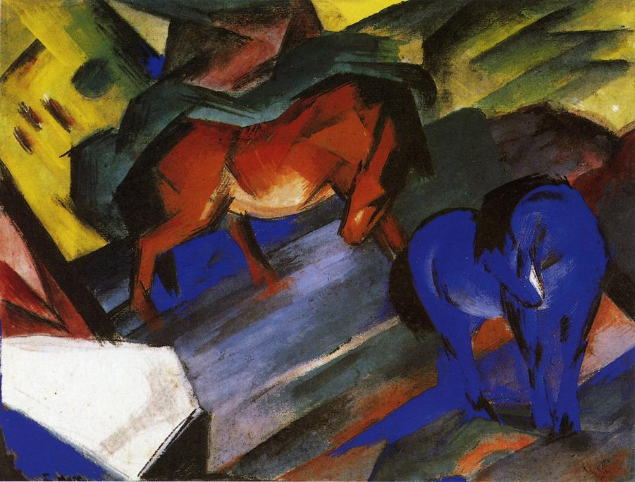 Reproductions of Franz Marci's art Red and Blue Horse 1912