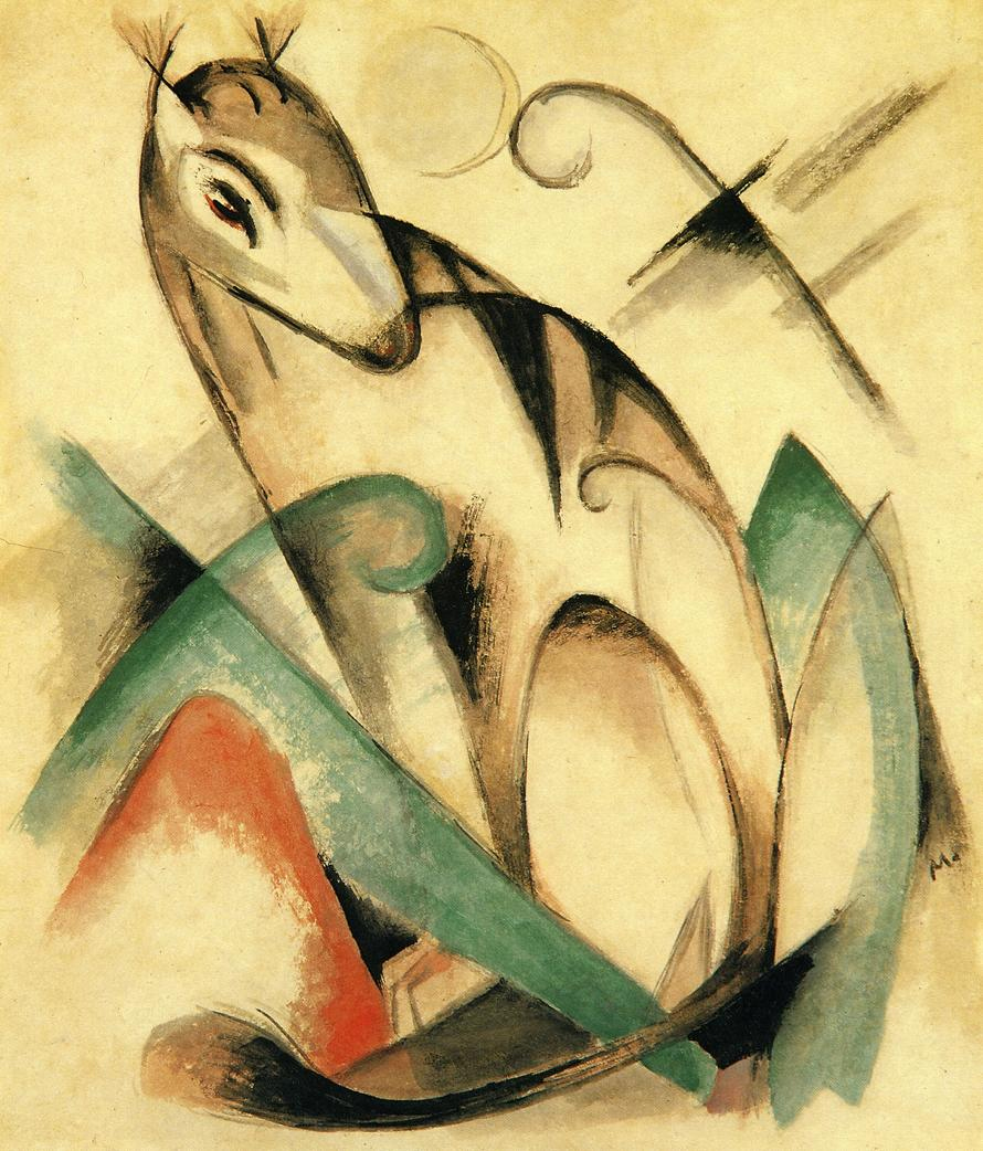 Reproductions of Franz Marc's art Seated Mythical Animal 1913