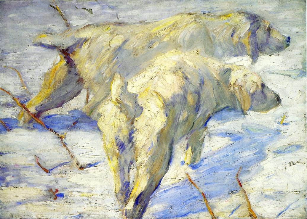 Reproductions of Franz Marci's art Siberian Sheepdogs aka Siber
