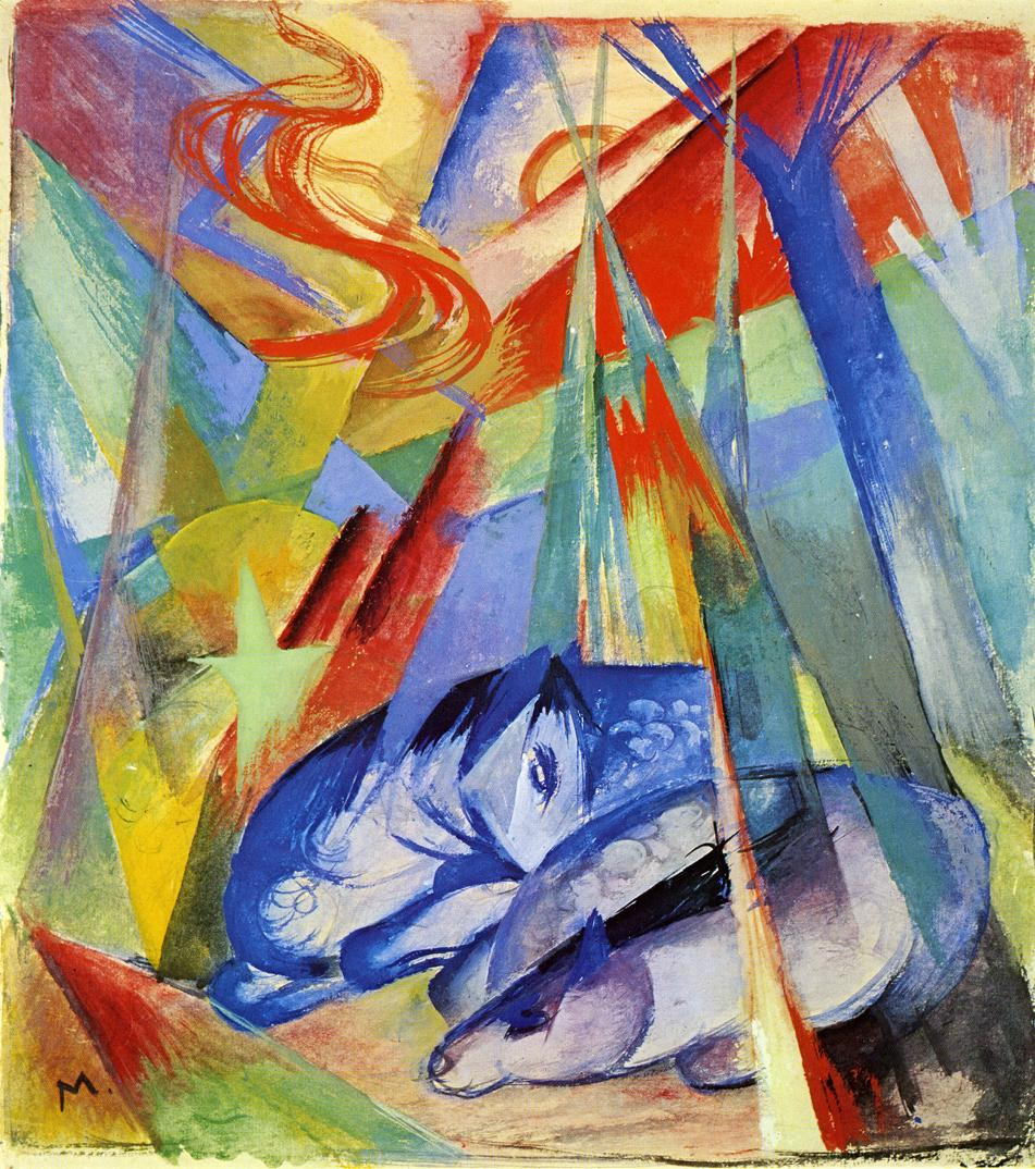 Reproductions of Franz Marc's art Sleeping Animals 1913