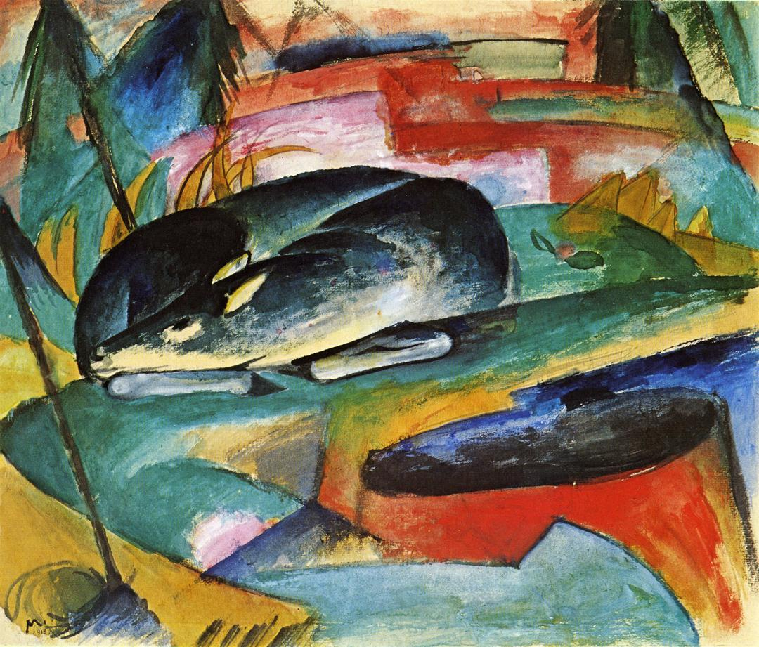 Reproductions of Franz Marci's art Sleeping Deer 1913