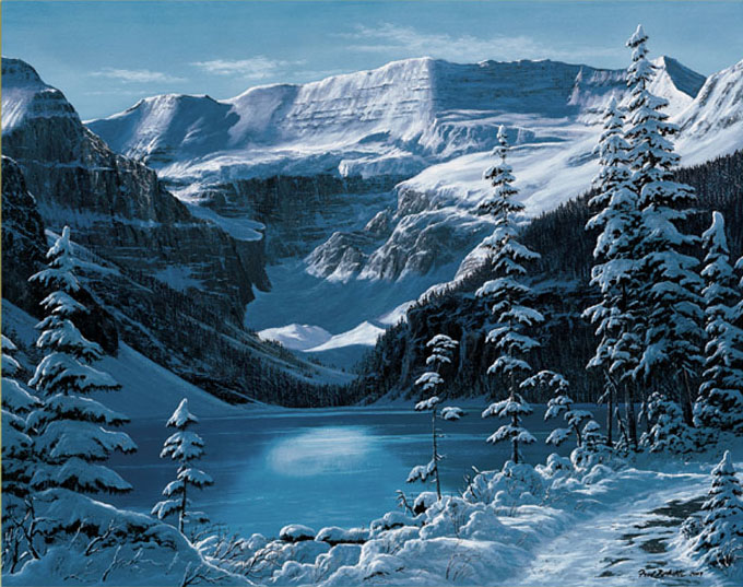 Reproductions of Fred Buchwitz's Lake Louise Winter