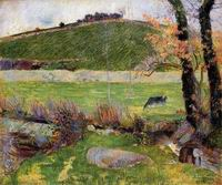 Paul Gauguin paintings A Meadow on the Banks of the Aven 1888