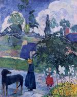 Reproduction of Paul Gauguin art Among the Lillies 1889