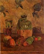 Paul Gauguin painting artwork Apples Jug Iridescent Glass 1884