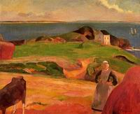 Paul Gauguin art Landscape at le Pouldu the Isolated House 1889