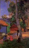 Paul Gauguin painting artwork Around the Huts 1877