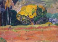 Paul Gauguin painting artwork At the Foot of the Mountain 1892