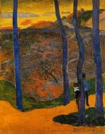 Reproduction of Paul Gauguin painting artwork Blue Trees 1888