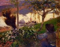 Paul Gauguin painting artwork Breton Boy by the Aven River 1888
