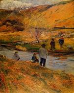 Reproduction of Paul Gauguin painting art Breton Fishermen 1888