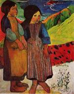 Reproduction of Paul Gauguin art Breton Girls by the Sea 1889