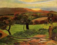 Paul Gauguin paintings art Breton Landscape Fields by the Sea