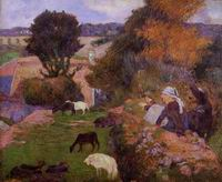Paul Gauguin paintings artwork Breton Shepherdess 1886