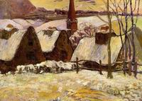 Paul Gauguin paintings artwork Breton Village in the Snow 1894