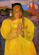 Paul Gauguin paintings artwork of Breton Woman in Prayer 1894